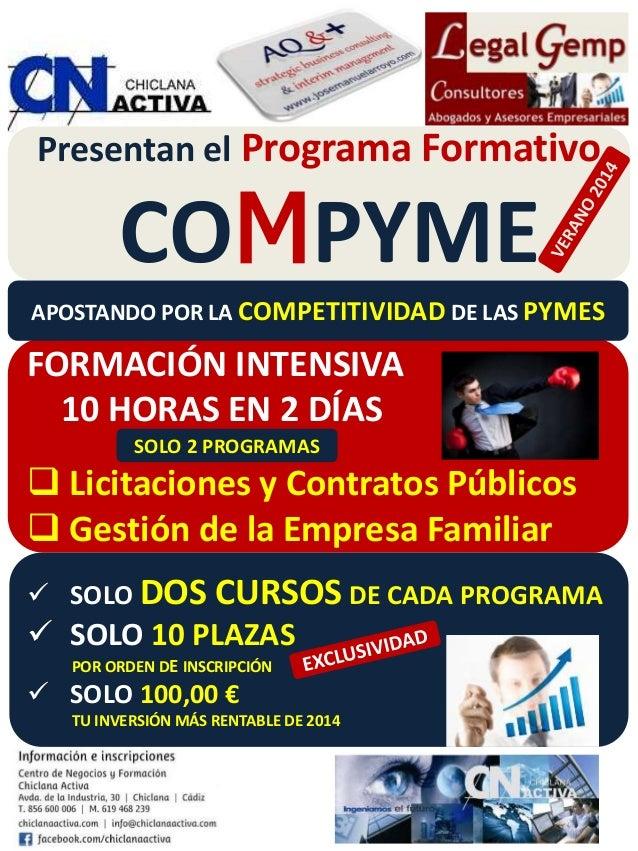 Presentan el Programa Formativo COMPYME p FORMACIÓN INTENSIVA 10 HORAS EN 2 DÍAS  Licitaciones y Contratos Públicos  Ges...