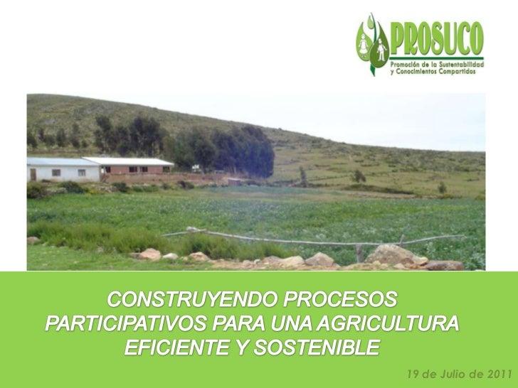 CONSTRUYENDO PROCESOS PARTICIPATIVOS PARA UNA AGRICULTURA EFICIENTE Y SOSTENIBLE<br />19 de Julio de 2011<br />