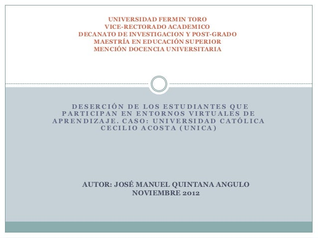 UNIVERSIDAD FERMIN TORO          VICE-RECTORADO ACADEMICO    DECANATO DE INVESTIGACION Y POST-GRADO       MAESTRÍA EN EDUC...