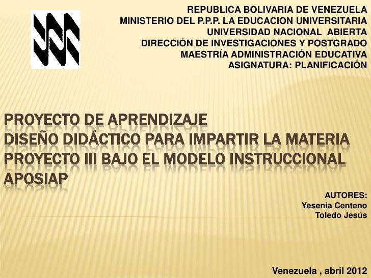REPUBLICA BOLIVARIA DE VENEZUELA             MINISTERIO DEL P.P.P. LA EDUCACION UNIVERSITARIA                             ...