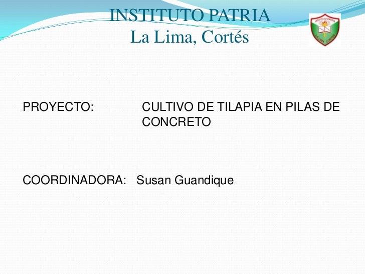 INSTITUTO PATRIALa Lima, Cortés<br />PROYECTO:   CULTIVO DE TILAPIA EN PILAS DE    CONCRETO<br />COORDINADORA:   Susa...