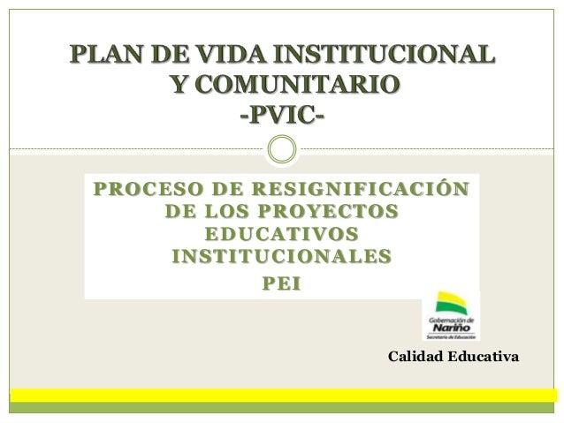 PROCESO DE RESIGNIFICACIÓN DE LOS PROYECTOS EDUCATIVOS INSTITUCIONALES PEI  Calidad Educativa