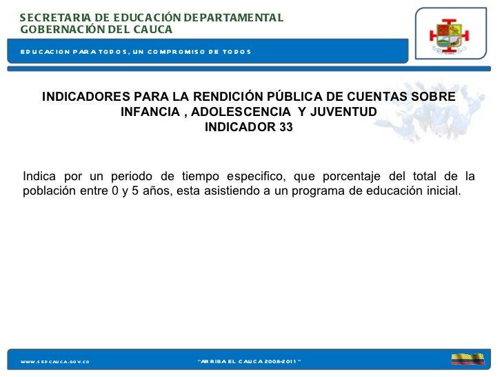EDUCACION PARA TODOS, UN COMPROMISO DE TODOS SECRETARIA DE EDUCACIÓN DEPARTAMENTAL www.sedcauca.gov.co GOBERNACIÓN DEL CAU...