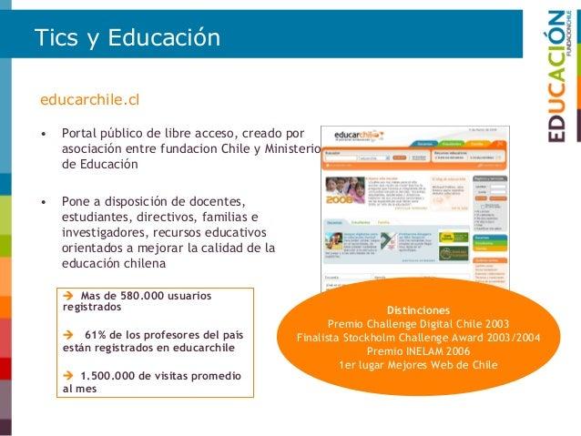 Tics y Educación • Dentro de la oferta del portal se destaca el acceso a más de 25 mil recursos digitales indexados curric...