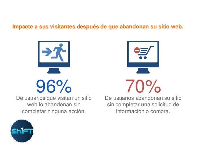 Impacte a sus visitantes después de que abandonan su sitio web.  96%  De usuarios que visitan un sitio web lo abandonan si...