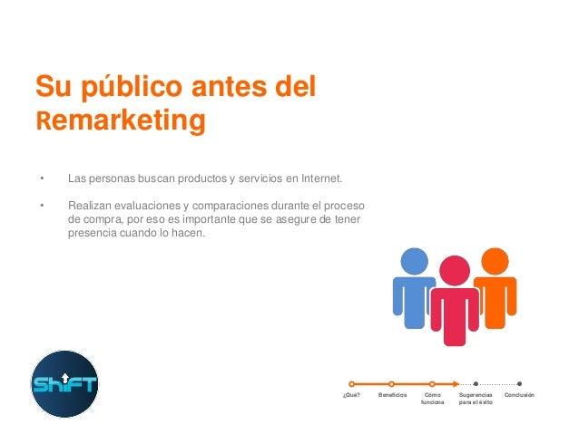 Su público antes del Remarketing •  Las personas buscan productos y servicios en Internet.  •  Realizan evaluaciones y com...