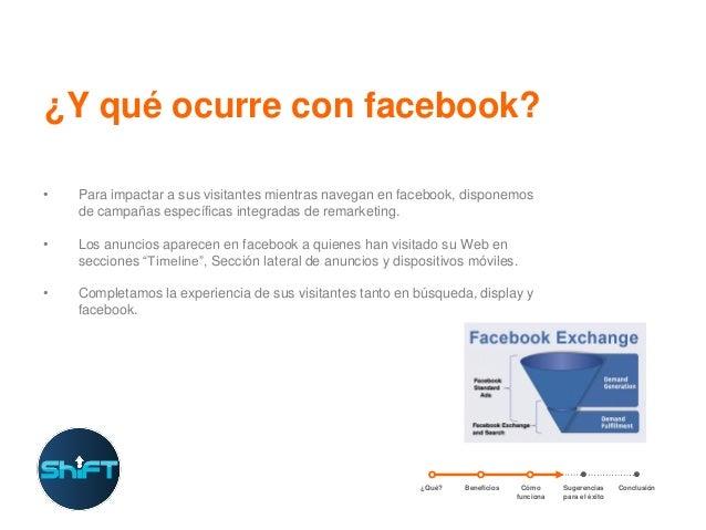 ¿Y qué ocurre con facebook? •  Para impactar a sus visitantes mientras navegan en facebook, disponemos de campañas específ...