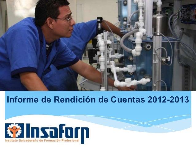 Informe de Rendición de Cuentas 2012-2013