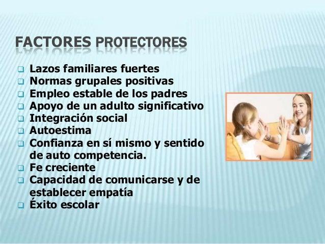 FACTORES PROTECTORES   Lazos familiares fuertes   Normas grupales positivas   Empleo estable de los padres   Apoyo de ...