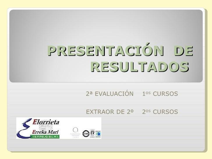 PRESENTACIÓN  DE RESULTADOS  2ª EVALUACIÓN  1 OS  CURSOS EXTRAOR DE 2º  2 OS  CURSOS