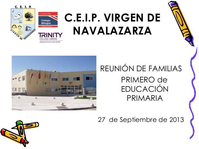 C.E.I.P. VIRGEN DE NAVALAZARZA REUNIÓN DE FAMILIAS PRIMERO de EDUCACIÓN PRIMARIA 27 de Septiembre de 2013