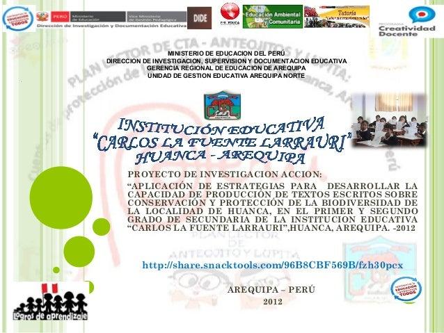 MINISTERIO DE EDUCACION DEL PERÚDIRECCION DE INVESTIGACION, SUPERVISION Y DOCUMENTACION EDUCATIVA           GERENCIA REGIO...
