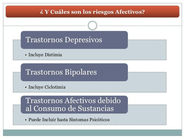 ¿ Y Cuáles son los riesgos Afectivos?Trastornos Depresivos• Incluye DistimiaTrastornos Bipolares• Incluye CiclotimiaTrasto...