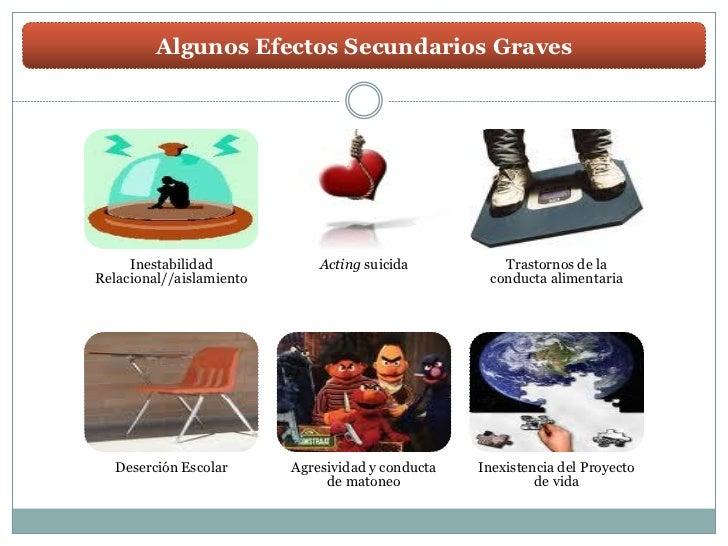 Algunos Efectos Secundarios Graves     Inestabilidad            Acting suicida          Trastornos de laRelacional//aislam...