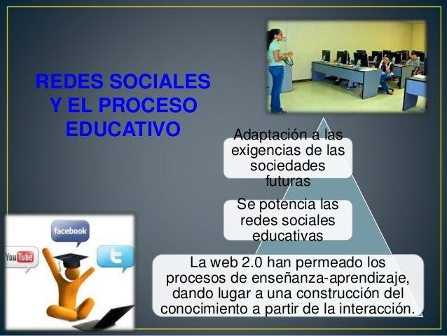 REDES SOCIALES Y EL PROCESO EDUCATIVO Adaptación a las exigencias de las sociedades futuras Se potencia las redes sociales...