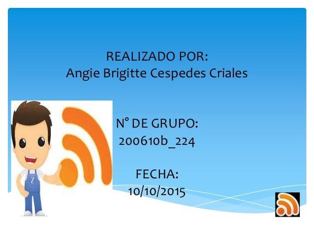 REALIZADO POR: Angie Brigitte Cespedes Criales N° DE GRUPO: 200610b_224 FECHA: 10/10/2015