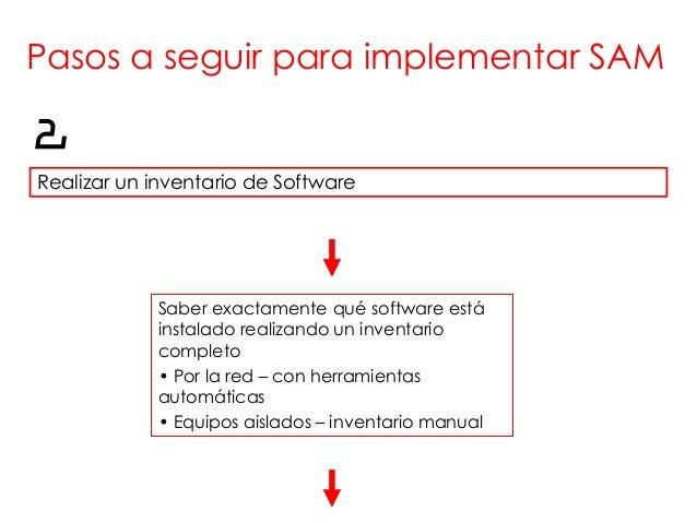 Pasos a seguir para implementar SAM2Realizar un inventario de Software            Saber exactamente qué software está     ...