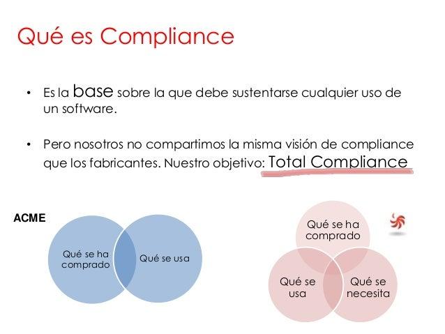 Qué es Compliance • Es la base sobre la que debe sustentarse cualquier uso de   un software. • Pero nosotros no compartimo...