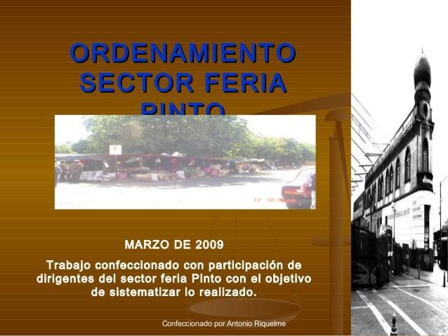 ORDENAMIENTO SECTOR FERIA PINTO  MARZO DE 2009 Trabajo confeccionado con participación de dirigentes del sector feria Pint...