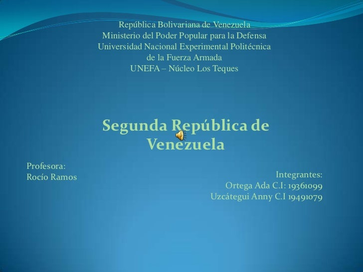 República Bolivariana de Venezuela               Ministerio del Poder Popular para la Defensa              Universidad Nac...