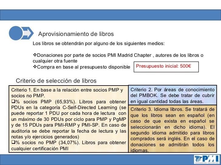 Almacenamiento de librosLos libros serán custodiados durante el proyecto piloto por parte de losvoluntarios del PMI Madrid...