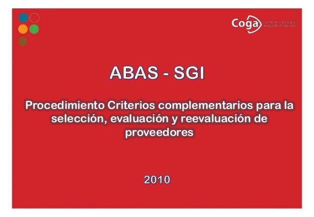 Procedimiento Criterios complementarios para la selección, evaluación y reevaluación de proveedores