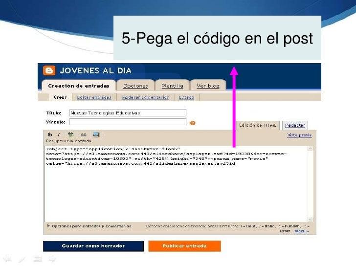 5-Pega el código en el post<br />