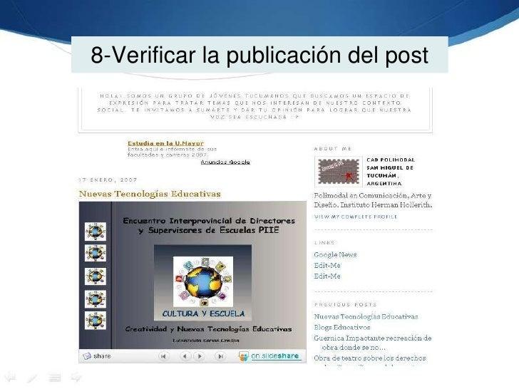 8-Verificar la publicación del post<br />