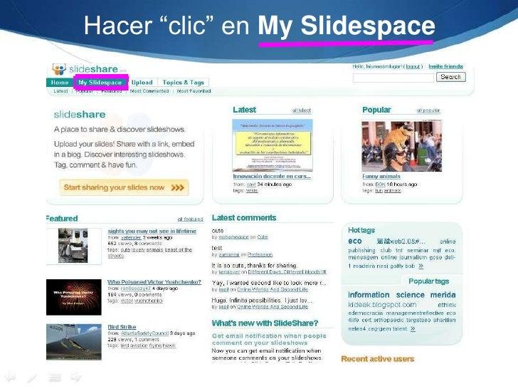 """Hacer """"clic"""" en My Slidespace<br />"""