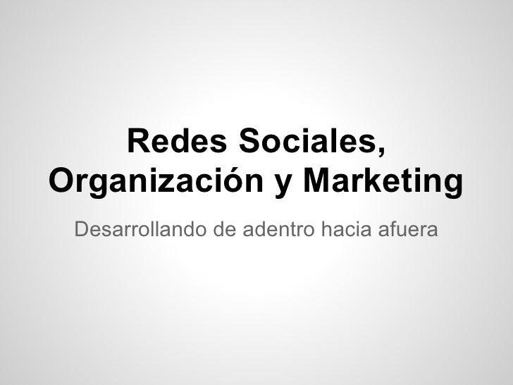 Redes Sociales,Organización y Marketing Desarrollando de adentro hacia afuera