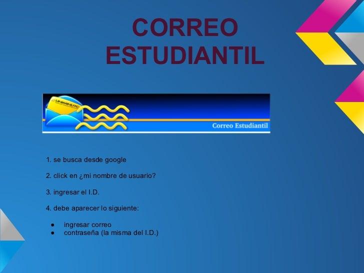 CORREO                      ESTUDIANTIL1. se busca desde google2. click en ¿mi nombre de usuario?3. ingresar el I.D.4. deb...