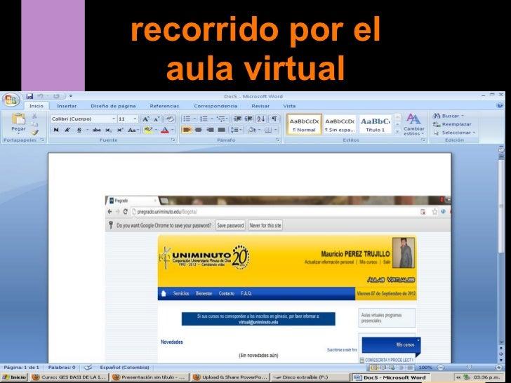 recorrido por el  aula virtual