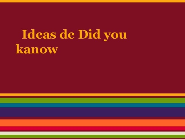 Ideas de Did youkanow
