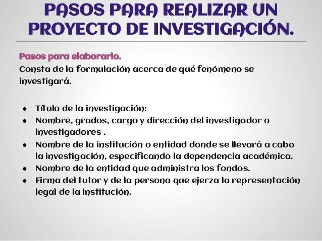 Pasos para hacer un proyecto de investigacion - Como crear un proyecto ...