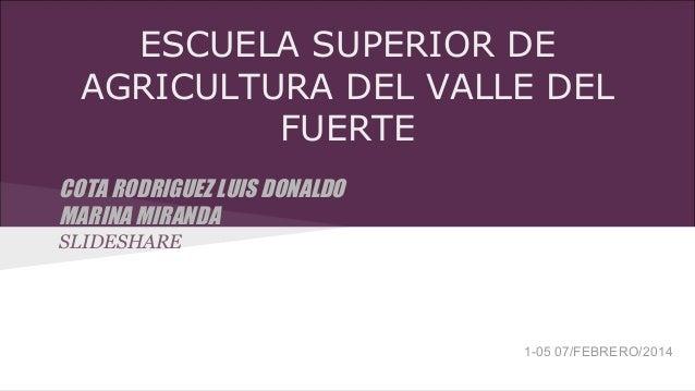 ESCUELA SUPERIOR DE AGRICULTURA DEL VALLE DEL FUERTE COTA RODRIGUEZ LUIS DONALDO MARINA MIRANDA SLIDESHARE  1-05 07/FEBRER...