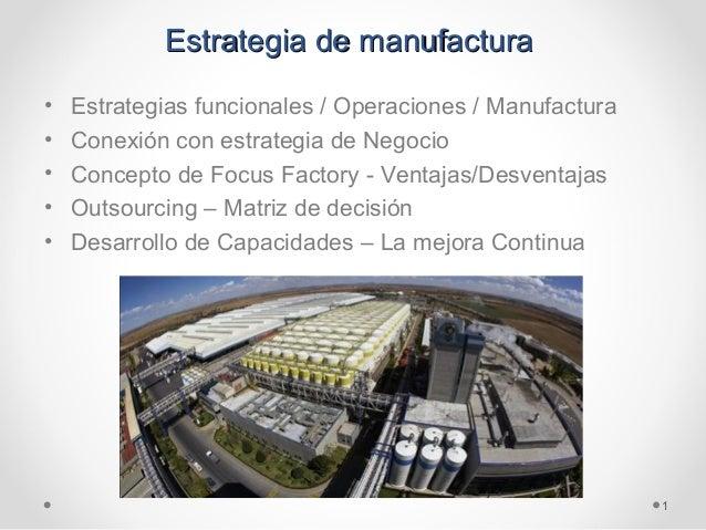 Estrategia de manufacturaEstrategia de manufactura • Estrategias funcionales / Operaciones / Manufactura • Conexión con es...