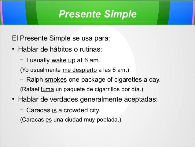 Presentación sobre presente simple Slide 2