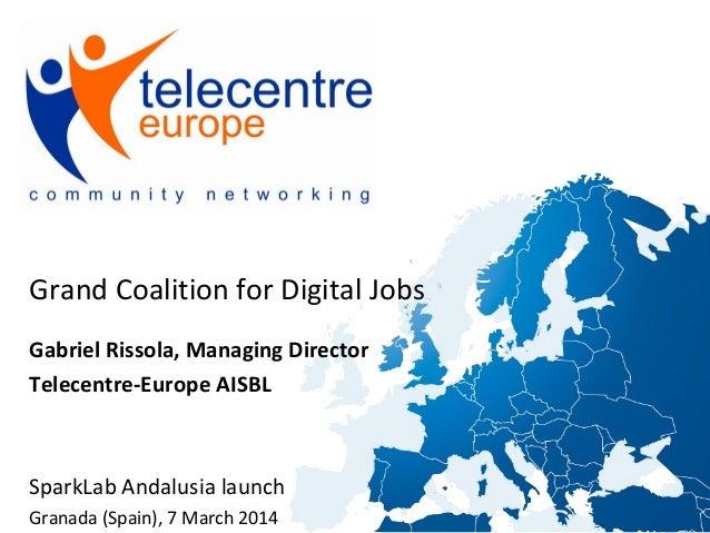 Grand Coalition for Digital Jobs Gabriel Rissola, Managing Director Telecentre-Europe AISBL  SparkLab Andalusia launch Gra...