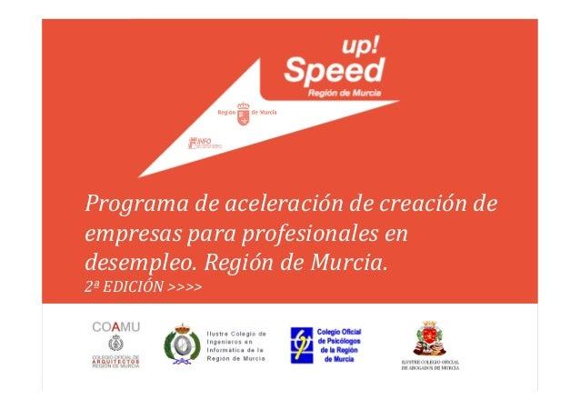 Programa de aceleración de creación deempresas para profesionales endesempleo. Región de Murcia.2ª EDICIÓN >>>>