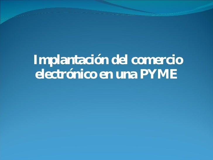 Implantación del comercio electrónico en una PYME