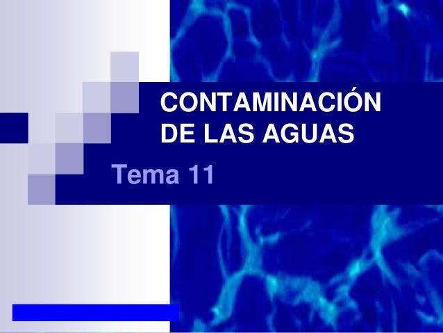 CONTAMINACIÓN DE LAS AGUAS Tema 11
