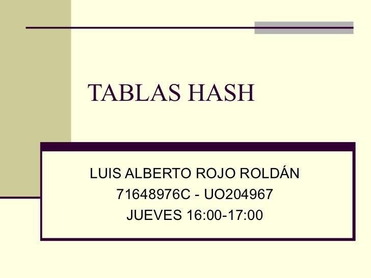 TABLAS HASH LUIS ALBERTO ROJO ROLDÁN 71648976C - UO204967 JUEVES 16:00-17:00