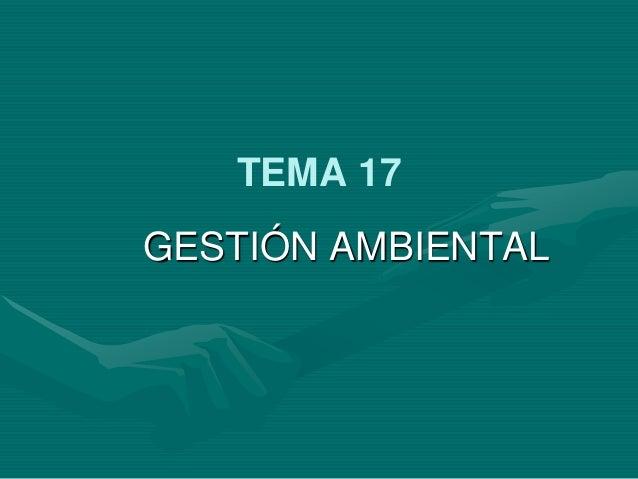 TEMA 17 GESTIÓN AMBIENTAL