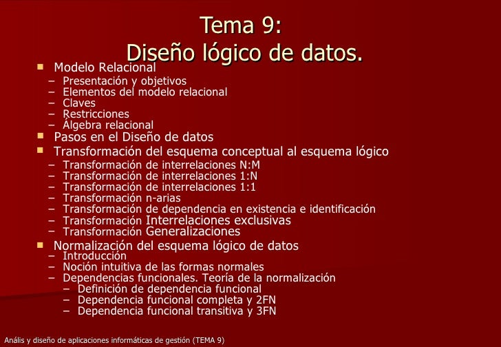 Tema 9:  Diseño lógico de datos. <ul><li>Modelo Relacional </li></ul><ul><ul><li>Presentación y objetivos </li></ul></ul><...