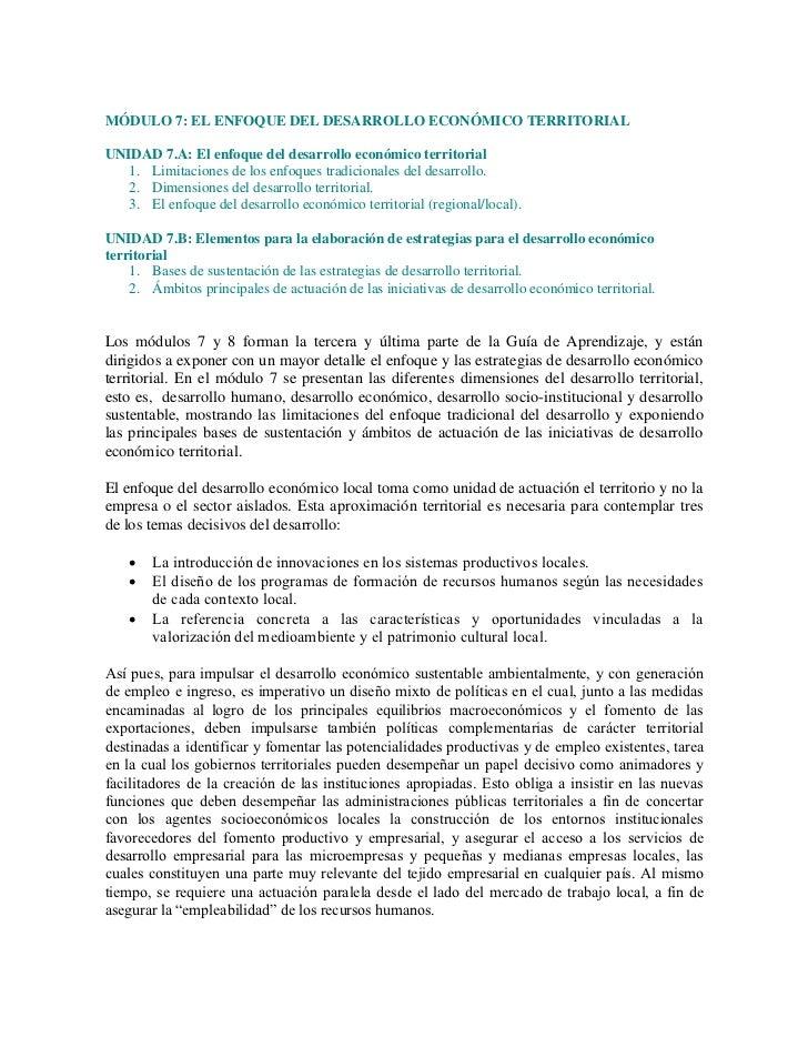 MÓDULO 7: EL ENFOQUE DEL DESARROLLO ECONÓMICO TERRITORIALUNIDAD 7.A: El enfoque del desarrollo económico territorial   1. ...