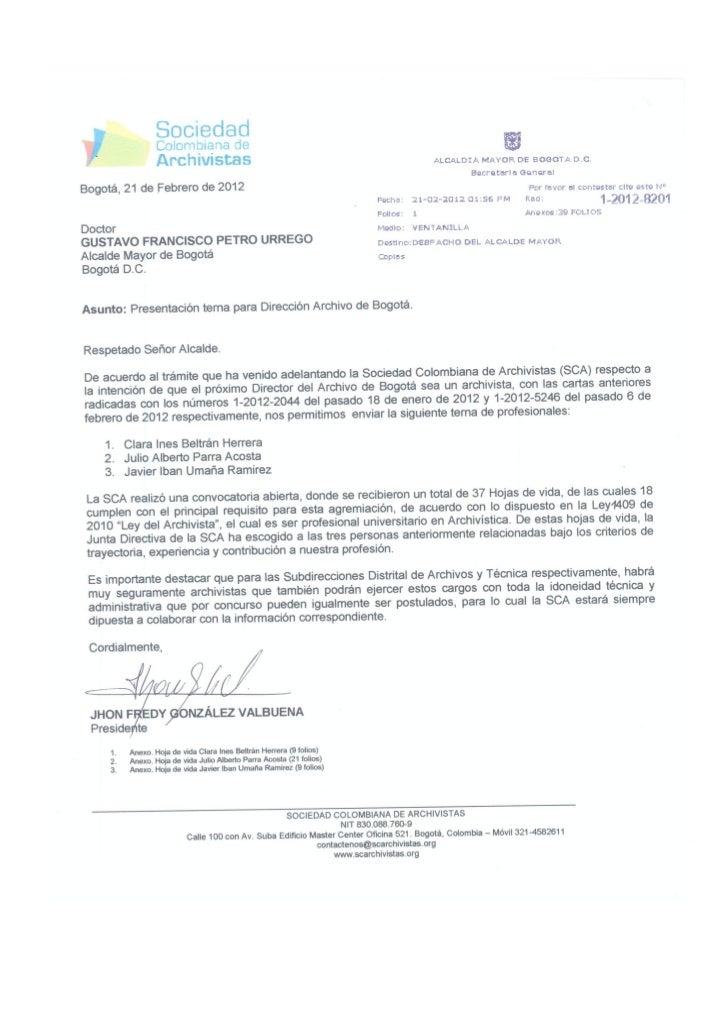 Presentación terna postulados director archivo de bogotá