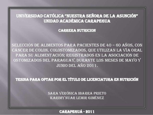 """UNIVERSIDAD CATÓLICA """"NUESTRA SEÑORA DE LA ASUNCIÓN""""              UNIDAD ACADÉMICA CARAPEGUA                     CARRERA N..."""