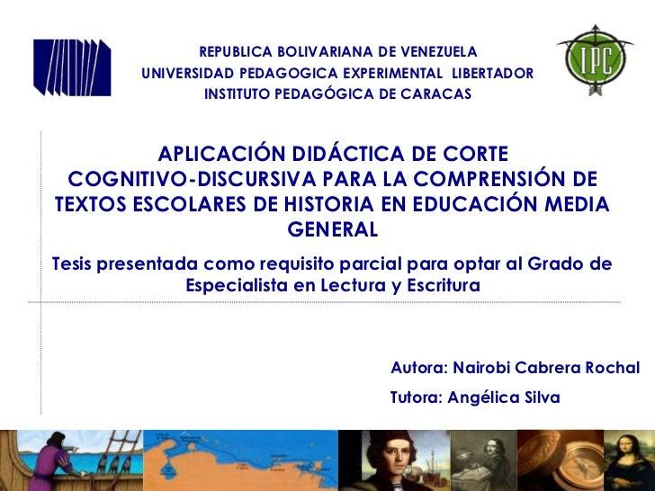 REPUBLICA BOLIVARIANA DE VENEZUELA         UNIVERSIDAD PEDAGOGICA EXPERIMENTAL LIBERTADOR                 INSTITUTO PEDAGÓ...