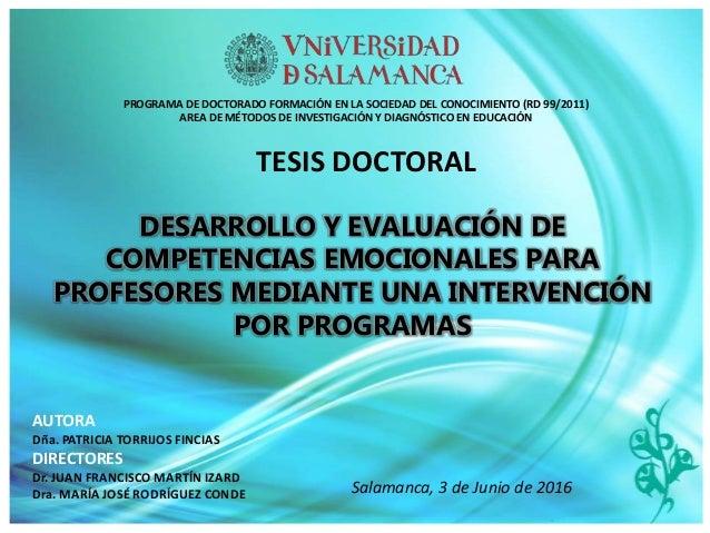 DESARROLLO Y EVALUACIÓN DE COMPETENCIAS EMOCIONALES PARA PROFESORES MEDIANTE UNA INTERVENCIÓN POR PROGRAMAS TESIS DOCTORAL...