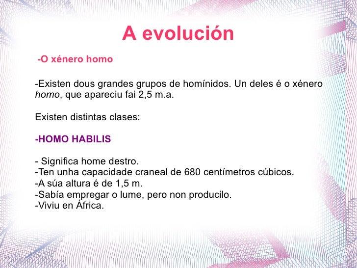 A evolución -O xénero homo -Existen dous grandes grupos de homínidos. Un deles é o xénero  homo , que apareciu fai 2,5 m.a...